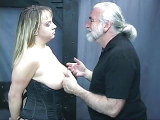 Tits pulled Old man dom pulls chubby subs hair and smacks her big tits