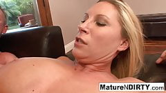 Busty blonde MILF lets him cum in her pussy