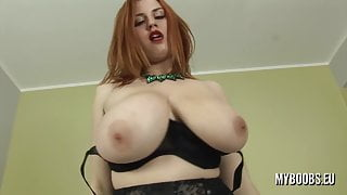 Huge natural Tits Alexsis Faye in lingerie bouncing boobs