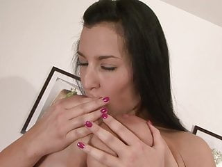 Moaning while getting fucked Busty brunette moans while getting a hard fuck on the couch