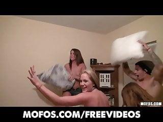 Using sex pillows Mofos- college room pillow fight escalates into full orgy