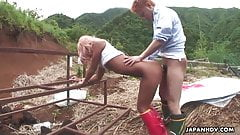 Asian outdoor slut gets to be fucked from the back hard