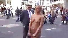 Blonde walk nude in town