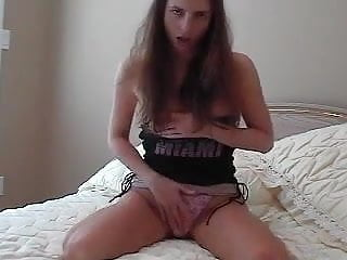 Panties cum in mouth - Girl stuffs dirty panties in mouth while she masturbate.