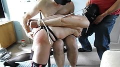 Hooded and tied old slut gets anal hooked and dildo by two m