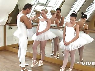 Vivid girl orgy 3 slutty ballerinas get fucked by instructor