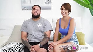 Busty babe and her boyfriend film their first porno for us