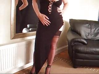 Spanked in garterbelt Lady lucy in a black dinner dress w a garterbelt and stockin