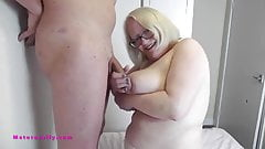 Look at me big tits Sally playing with his cock