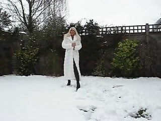 Coat fur leather vintage Milf in fur coat and boots