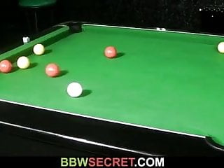 Teen screwing pool stick Her bf screws fat bitch on the pool table