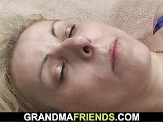 Fucking granma Blonde granma swallows two rods outside