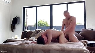 Slutty twink takes daddy dick for dinner and breakfast