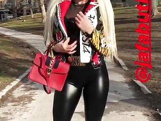 Jelena doic sexy body Jelena unikat - sexy blonde in latex leggings