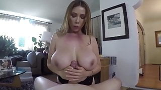 Lonely stepmom with big natural tits seduces her stepson