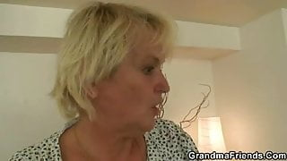 Hot threesome with blonde granny