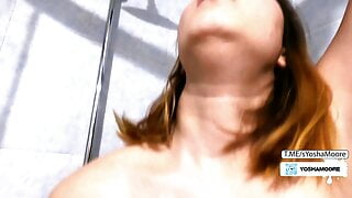 Petite pussy stepdaughter gets fucked in the shower