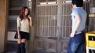 Naughty Japanese babe in skirt Ai Mizushima sucks a cock
