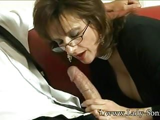 Blowjob lady sonia - British milf lady sonia sucks a huge cock and gets cumshot