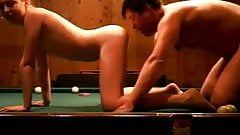 Russian whore on the billiard. Cue in her pussy.