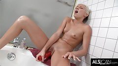 Slim Teen Teases Clit with Water Before Masturbating