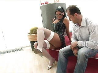 Milf gets pounded on bed Busty brunettes tits bounce while she gets pounded in bed