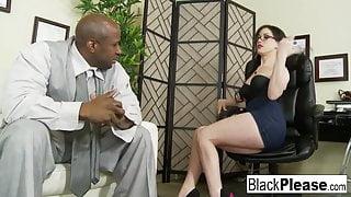 She receives an interracial creampie