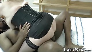 Classy GILF with big tits pounded balls deep by black dick