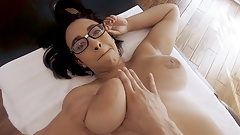 Thick Short Geek Girl with Braces Massaged