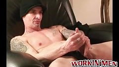 Interviewed stud seduced into jerking off and cumming solo