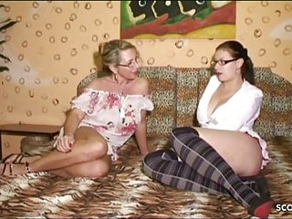 3some old young German mom teach big dick step daugther to fuck in 3some