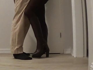 Leg socks shaved pussy - Footplay in brown leggings and transparent nylon socks