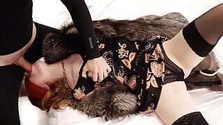 FUCK my ASS and cum in mouth. Rough anal fuck in fur coat