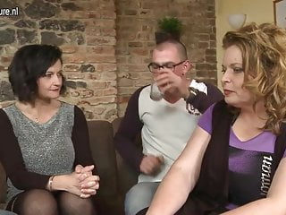 Two granny sex - Two guys fucking three mature moms in group sex