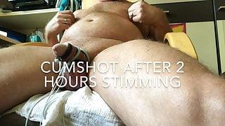 Estim cumshot after 2 hours stimming