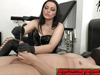 Anal torture pain - Tube and finger in cock painful from german domina torture
