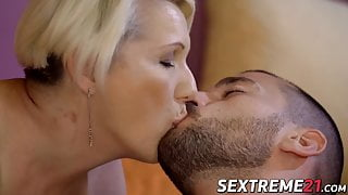 Busty blonde GILF Bibi Pink fucked by young hard cock