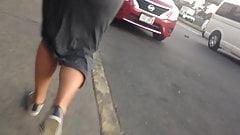 Pretty ass bouncing in grey dress