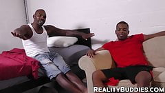 Young black guy pounded hard and fast by experienced dude