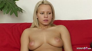 Real Casting Threesome for Cute College Teen Who need Money