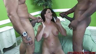 Horny MILF Sandy takes a double dose of Black Meat