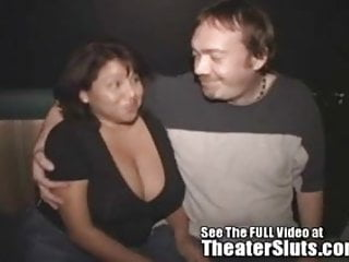 Breast covering Big breasted latina milf gets cum covered in a porn theater