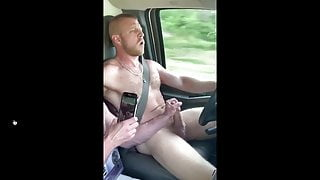 Driving naked down road getting cock sucked