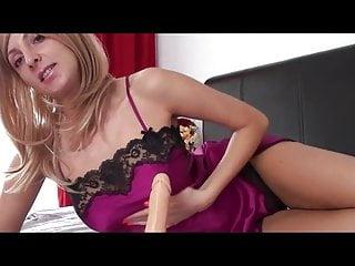 Satin slip sex - Blonde teases your cock with satin slip