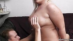 Chubby blonde ex rides his cock after cunnilingus