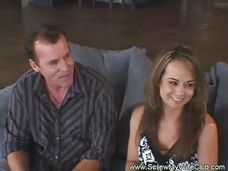 Wife fucks while husband watches vids Horny housewife fucks while husband watches