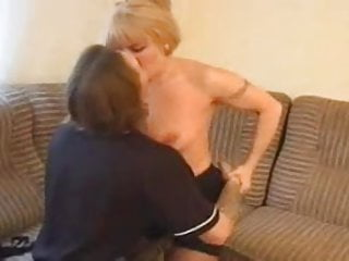 Mature and youngs - Mature and young couch blonde granny