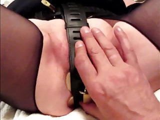 Chastiy device for small penis - Pugged in chastiy belt
