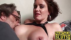 Busty brunette MILF Lizzy masturbates then gets pussy licked