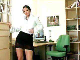 Sexy sheer ligerie Sexy secretary masturbates in sheer stockings